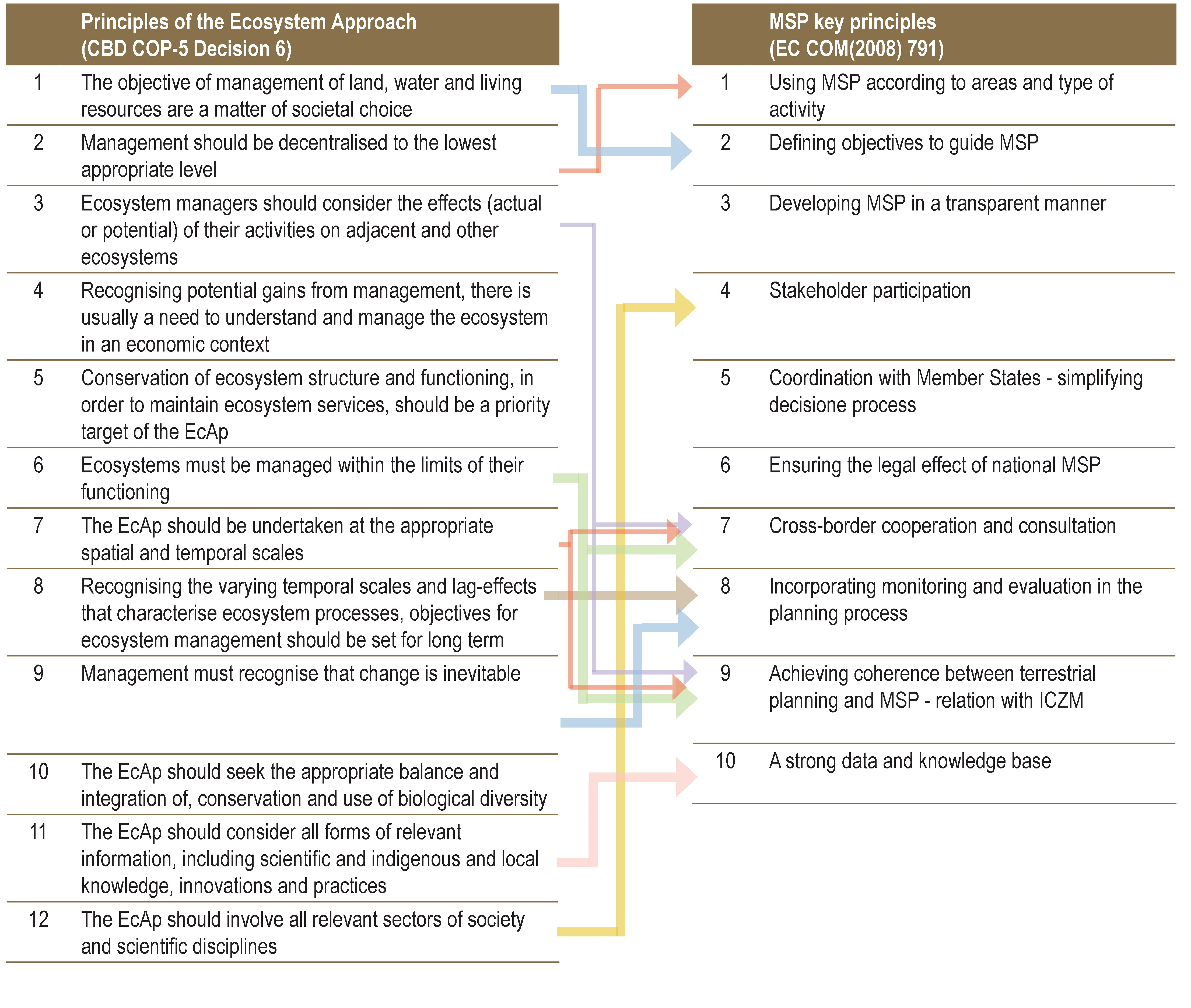 Links between EcAp and MSP principles. Source: Methodological handbook on Maritime Spatial Planning in the Adriatic Sea.
