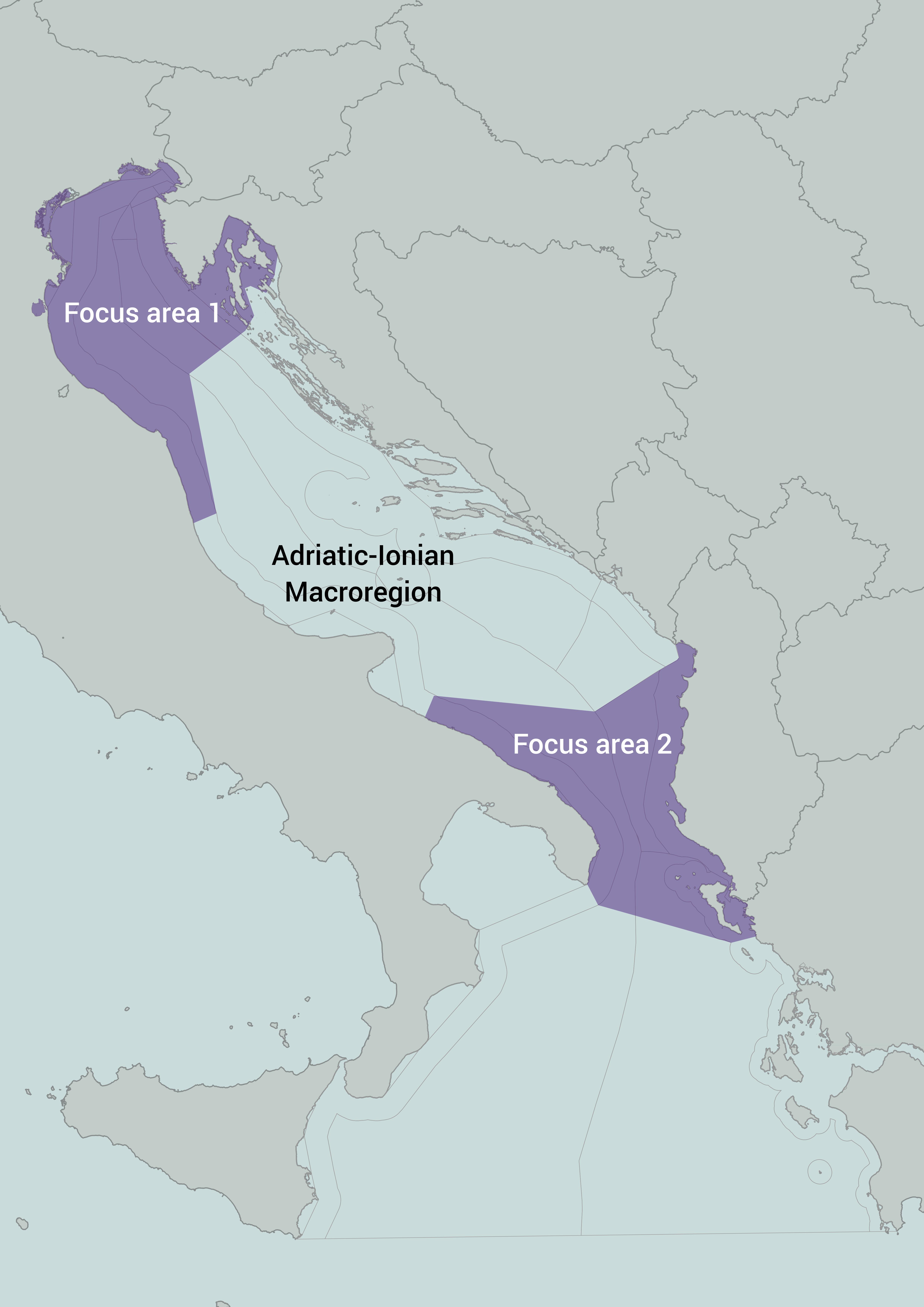 ADRIPLAN study area: Adriatic-Ionian Region and Focus Areas. Source: ADRIPLAN project