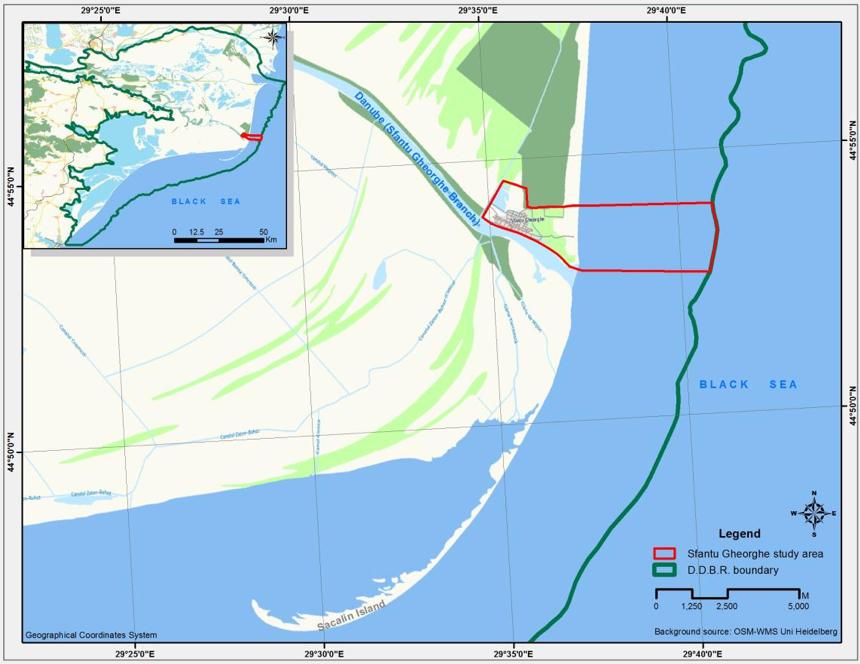 Fig. 1. Sfântu Gheorghe case study area within Danube Delta Biosphere Reserve. Source: MARSPLAN-BS Project, Case Study 2: Sfântu Gheorghe