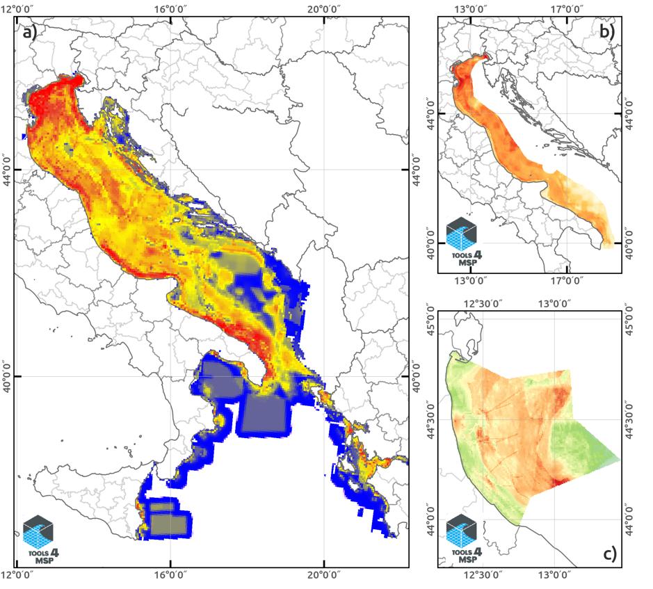 Examples of geospatial results in different geographic domains: (a) Ionian-Adriatic Sea, (b) Italian Adriatic sea and  (c) Emilia-Romagna Region.
