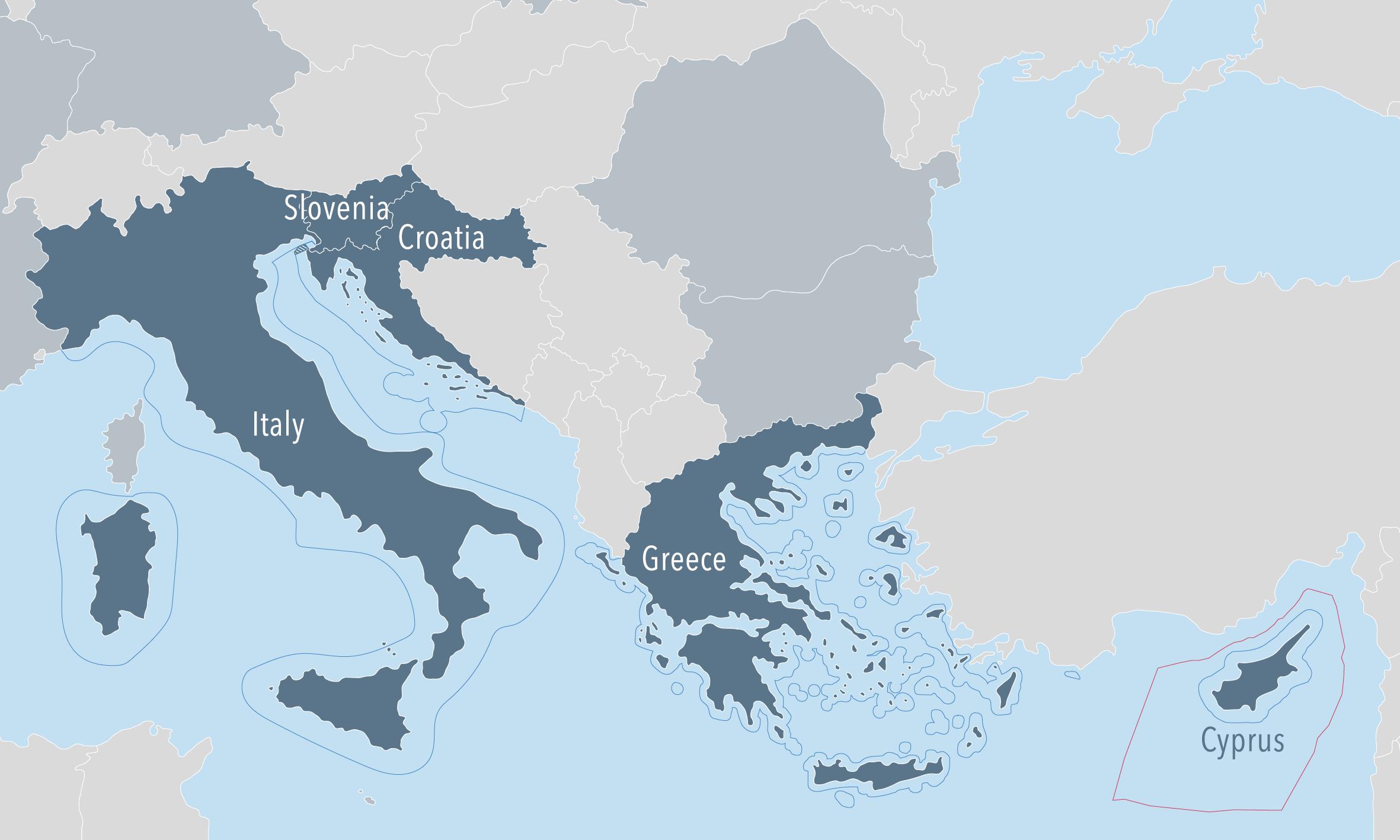 Map Of Eastern Italy.East Mediterranean European Msp Platform